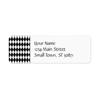 Black and White Diamond Harlequin Pattern Custom Return Address Label