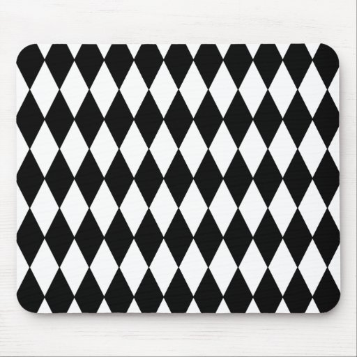 Black and White Diamond Harlequin Pattern Mouse Pad
