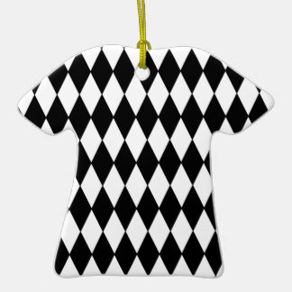 Black and White Diamond Harlequin Pattern Ornament