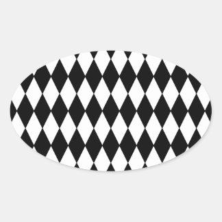 Black and White Diamond Harlequin Pattern Oval Sticker