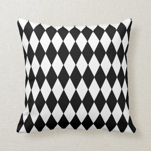 Black and White Diamond Harlequin Pattern Throw Pillow