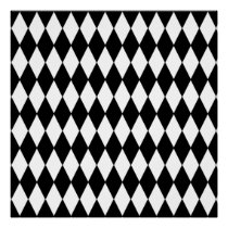 Black and White Diamond Harlequin Pattern Poster