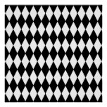 Black and White Diamond Harlequin Pattern Posters
