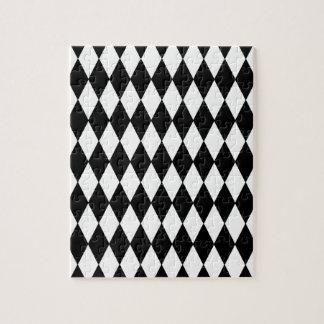 Black and White Diamond Harlequin Pattern Jigsaw Puzzle