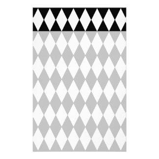 Black and White Diamond Harlequin Pattern Stationery