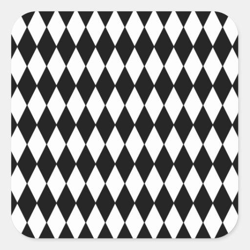Black and White Diamond Harlequin Pattern Square Stickers