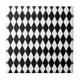 Black and White Diamond Harlequin Pattern Ceramic Tiles