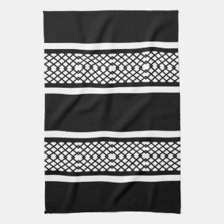 Black and White Diamond Lattice and Striped Towels