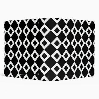 Black and White Diamond Pattern 3 Ring Binder