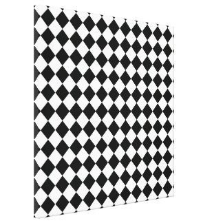 Black And White Diamond Pattern Gallery Wrapped Canvas