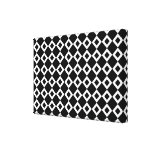 Black and White Diamond Pattern Stretched Canvas Print