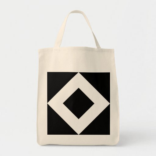 Black and White Diamond Pattern Canvas Bag