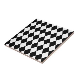 Black And White Diamond Pattern Ceramic Tile