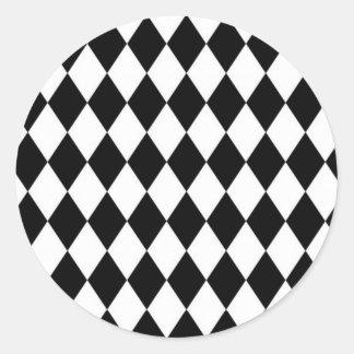 Black And White Diamond Pattern Classic Round Sticker