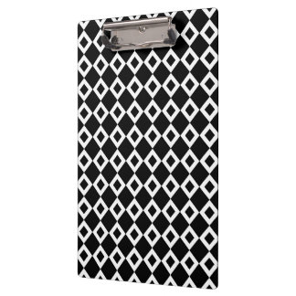 Black and White Diamond Pattern Clipboard