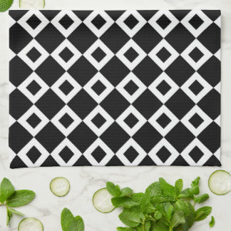 Black and White Diamond Pattern Hand Towels