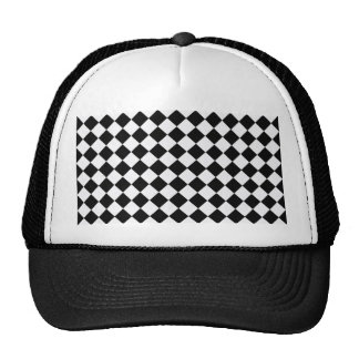 Black And White Diamond Pattern Trucker Hat
