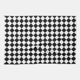 Black And White Diamond Pattern Hand Towel
