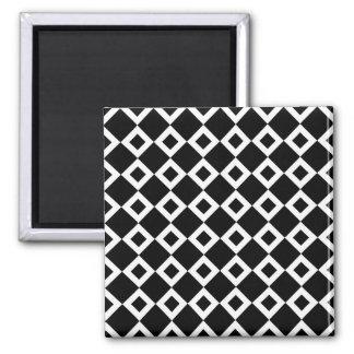 Black and White Diamond Pattern Magnet