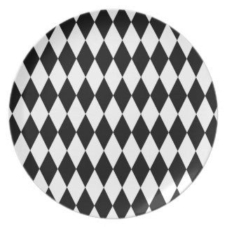 Black and White Diamond Pattern Melamine Plate