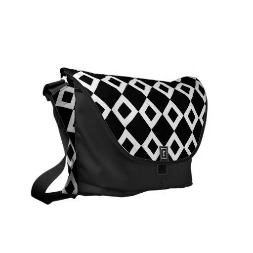 Black and White Diamond Pattern Messenger Bags