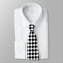 Black And White Diamond Pattern Necktie