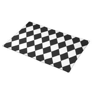 Black And White Diamond Pattern Cloth Place Mat