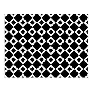 Black and White Diamond Pattern Postcard