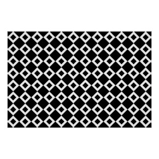 Black and White Diamond Pattern Poster