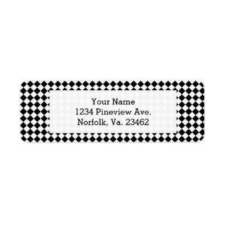 Black And White Diamond Pattern Return Address Label