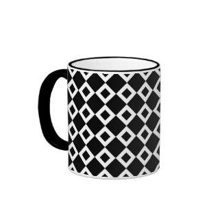 Black and White Diamond Pattern Ringer Mug