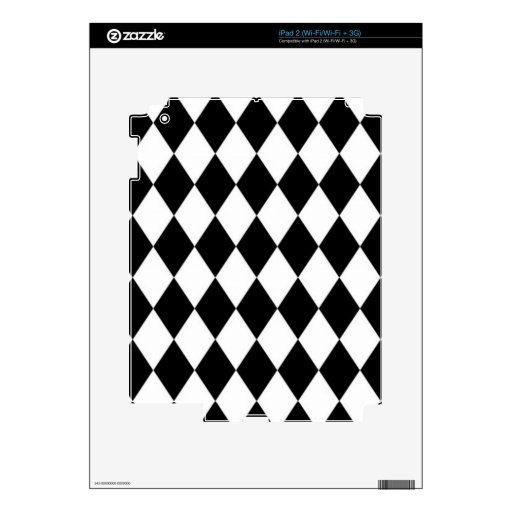 Black And White Diamond Pattern iPad 2 Decals