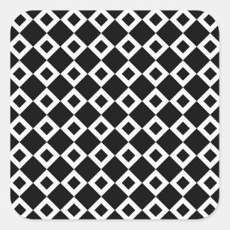 Black and White Diamond Pattern Square Sticker