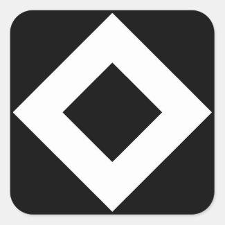Black and White Diamond Pattern Square Stickers