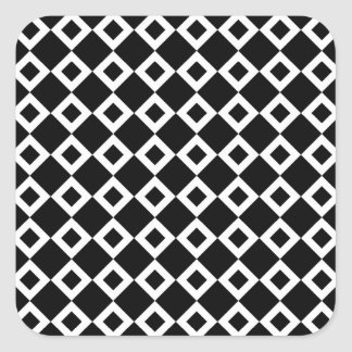 Black and White Diamond Pattern Square Stickers