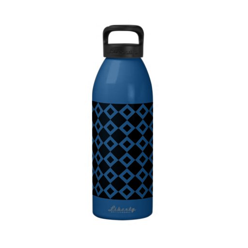 Black and White Diamond Pattern Water Bottle