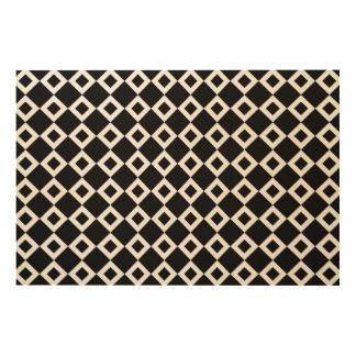 Black and White Diamond Pattern Wood Wall Art