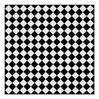 Black And White Diamond Pattern Perfect Poster