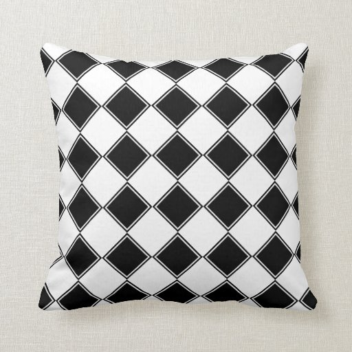 Black Diamond Throw Pillows : Black And White Diamond Print Throw Pillow Zazzle