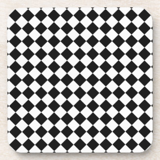 Black And White Diamond Shape Pattern Beverage Coaster