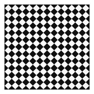 Black And White Diamond Shape Pattern by STaylor Photo Print