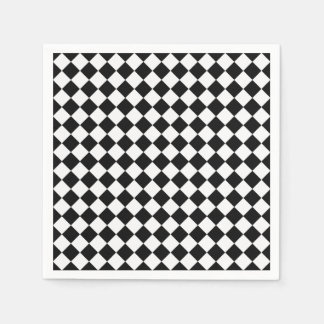 Black And White Diamond Shape Pattern Paper Napkin
