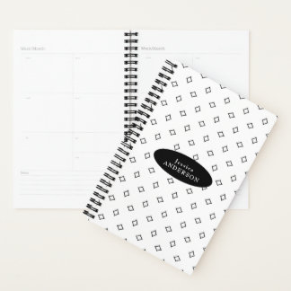 Black and White Diamond Shape Pattern Personalized Planner