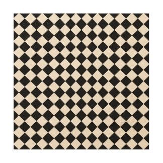 Black And White Diamond Shape Pattern Wood Canvases