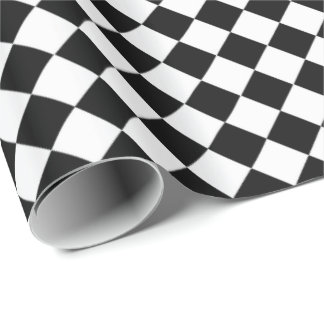 Black And White Diamond Shape Pattern Wrapping Paper
