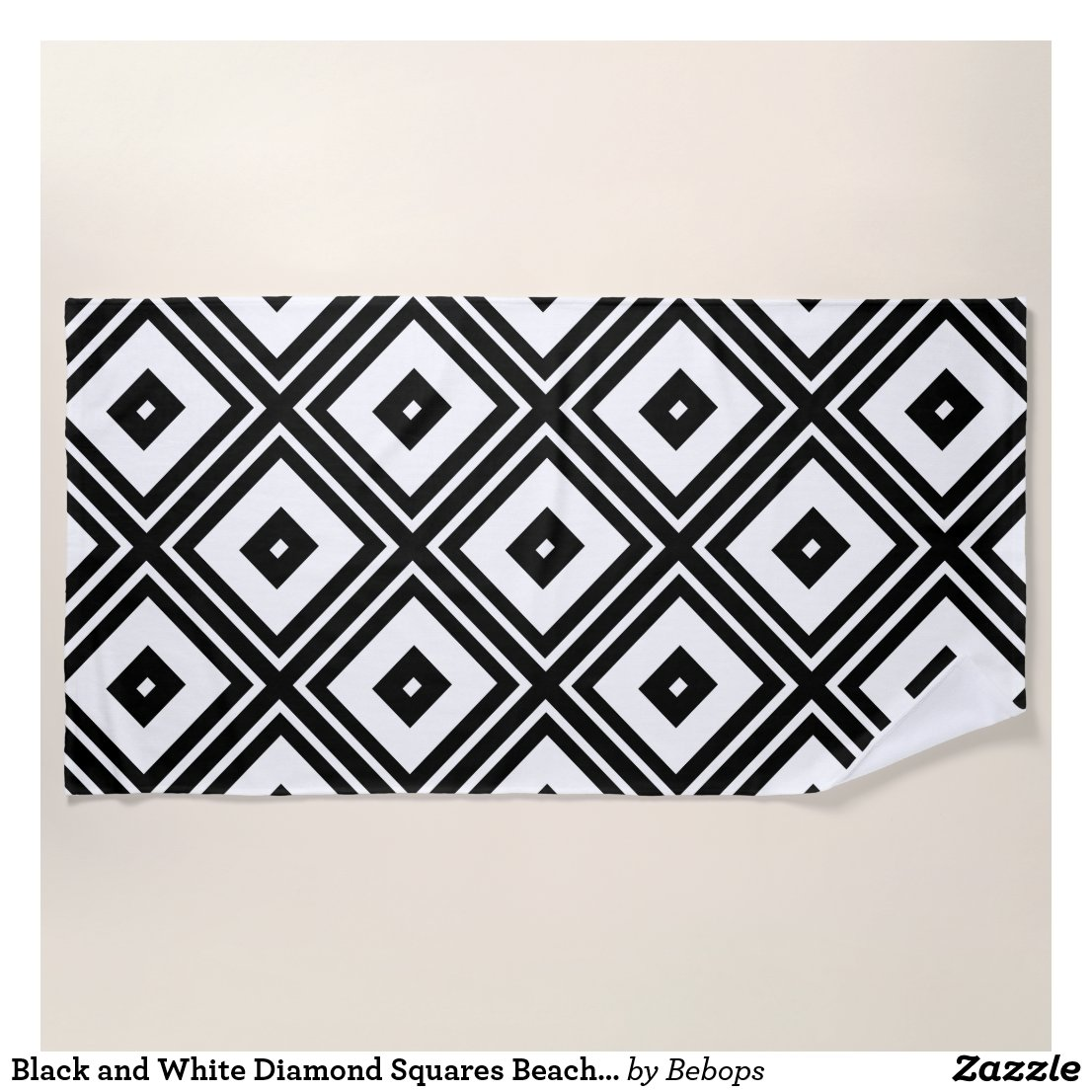 Black and White Diamond Squares Beach Towel
