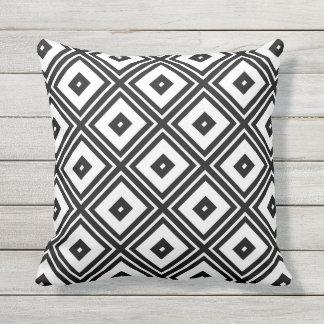 Black and White Diamond Squares Outdoor Pillow