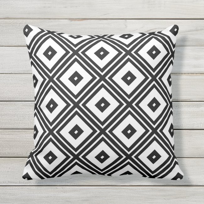 Black and White Diamond Squares Outdoor Pillow