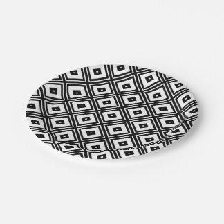 Black and White Diamond Squares Paper Plates