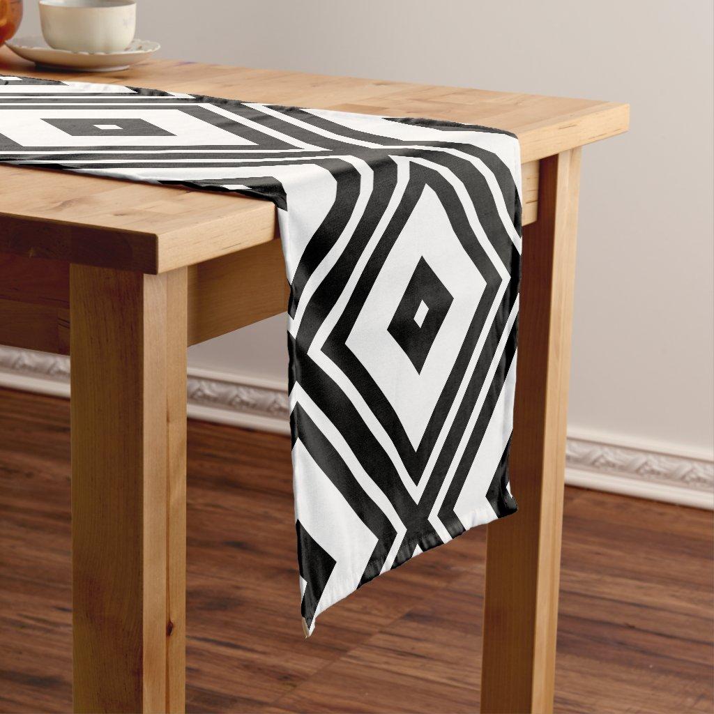 Black and White Diamond Squares Short Table Runner